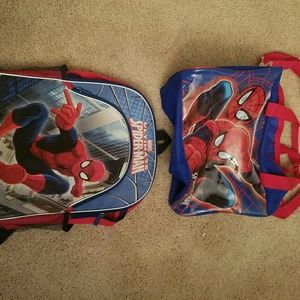 Spiderman backpack and overnight bag
